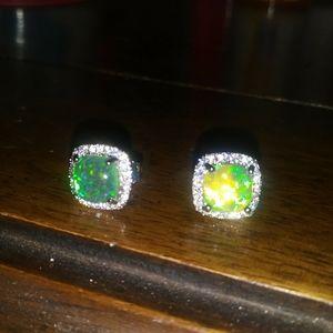 Jewelry - NEW! Gorgeous Green Fire Opal Earrings